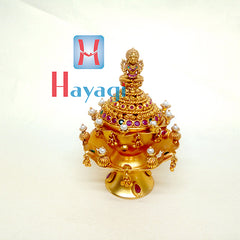 Kumkum Box multicolour stones Lord Laxmi Moti Design - Hayagi