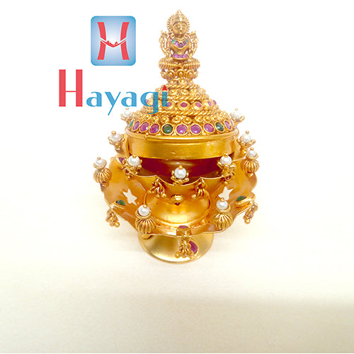 Kumkum Box multicolour stones Lord Laxmi Moti Design_Hayagi