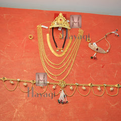 Traditional Beautiful Festive Gold Gauri Ganesh Accessories Combo Set Online -Hayagi