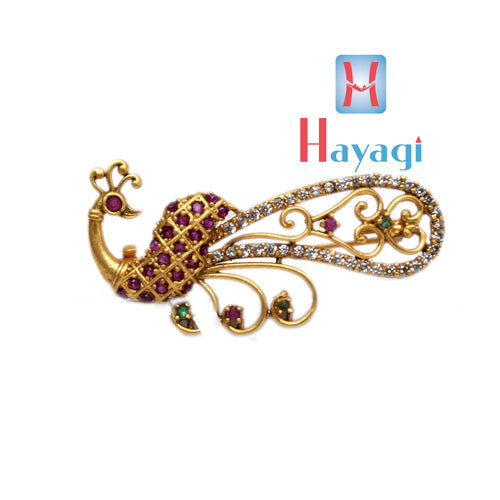 Saree Pin Brooch Peacock Design With Red Stones Buy Online_Hayagi