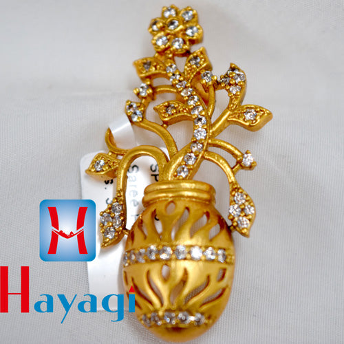 Saree Pin Flower Pot Design White Stone Buy Online- Hayagi(Pune)