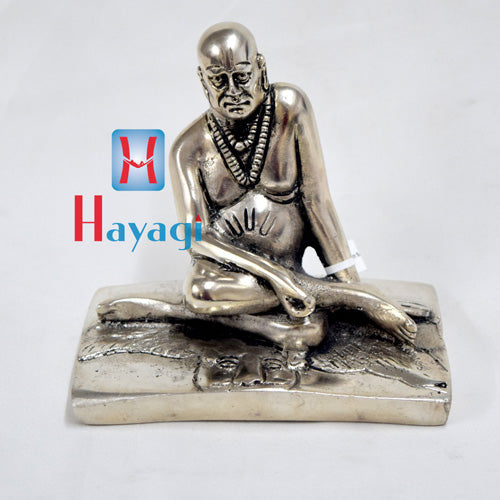 Shree Swami Samarth Idol Sitting Statue Silver Polish