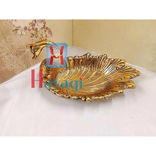 Metal Serving Tray of Duck design in Gold Finish Gifting Item_Hayagi(Pune)