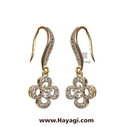 American Diamond Studded Earrings- Danglers - Hayagi - Beeline  - 1