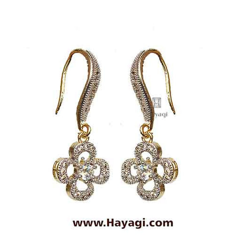 American Diamond Studded Earrings- Danglers - Hayagi