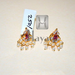 Moti Thushi Tops Earrings Pink Stone Tops Maharashtrian Online- Hayagi
