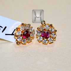 Tops Earrings Pink Stone Tops Maharashtrian Online- Hayagi