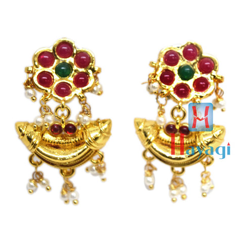 Traditional Tops Earrings With Pink Flower Design Online-Hayagi