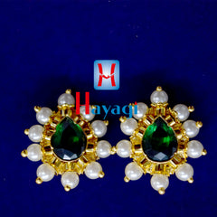 Thushi Tops Earrings Green Stone Moti Tops Maharashtrian Online- Hayagi