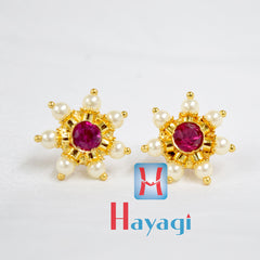 Thushi Tops Earrings White Stone Maharashtrian Online- Hayagi