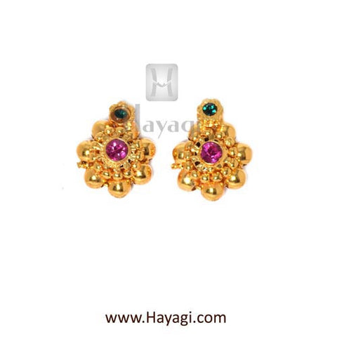 Maharashtrian Kudi Thushi Earrings Tops Buy Online - Hayagi