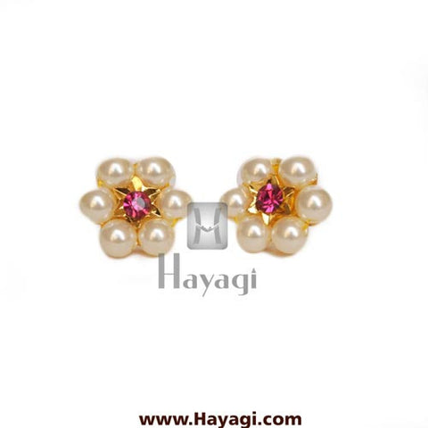 Moti Thushi Tops Earrings 6 Mani Pearl Tops Buy Online - Hayagi - Beeline  - 2