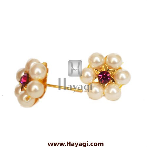 Moti Thushi Tops Earrings 6 Mani Pearl Tops Buy Online - Hayagi - Beeline  - 1