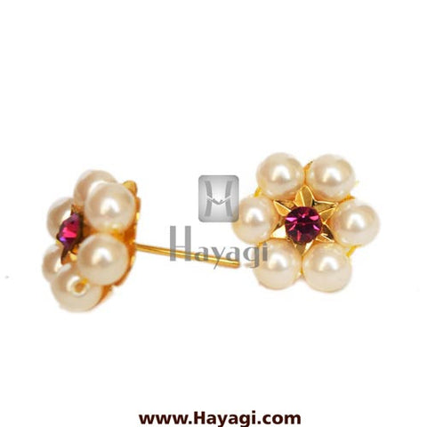 Moti Thushi Tops Earrings 6 Mani Pearl Tops Buy Online - Hayagi
