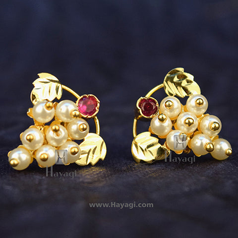 Traditional Moti Thushi Grapes Tops Earrings Pearl Tops Online-Hayagi