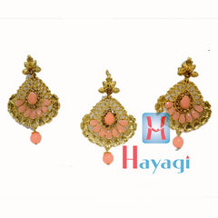 Maang Tikka Earring Light Orange Colour Design - Hayagi