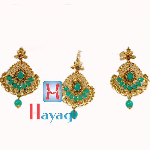 Maang Tikka Earring Petal Stone Design Traditional Jewellery _Hayagi