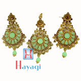 Maang Tikka Earring Pista Colour Gold Polish Design_Hayagi