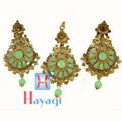 Maang Tikka Earring Pista Colour Gold Polish Design - Hayagi