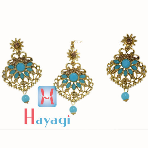 Maang Tikka Earring Sky Blue Colour Design_Hayagi(Pune)