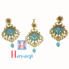 Maang Tikka Earring Sky Blue Colour Design - Hayagi(Pune)