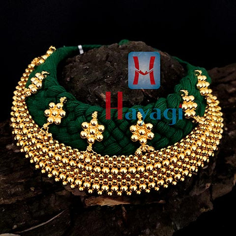 Green Thread 9 Layered Broad Thushi Necklace Online_Hayagi(Pune)