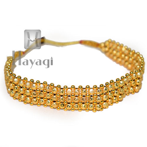 Gold Kolhapuri Thushi Patta Necklace Online  - Hayagi