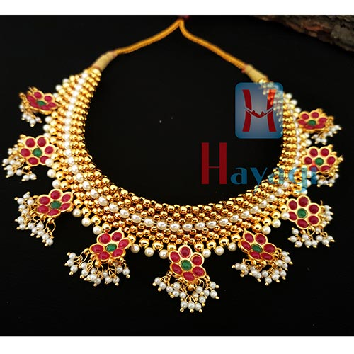 Thushi 9 Layered Broad Thushi Necklace Online_Hayagi(Pune)