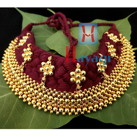 Broad Thushi Red Thread Veni 9 Layered Necklace Online_Hayagi(Pune)