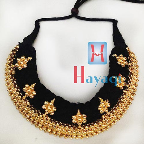 Broad Thushi Black Thread 9 Layered Necklace Online_Hayagi(Pune)