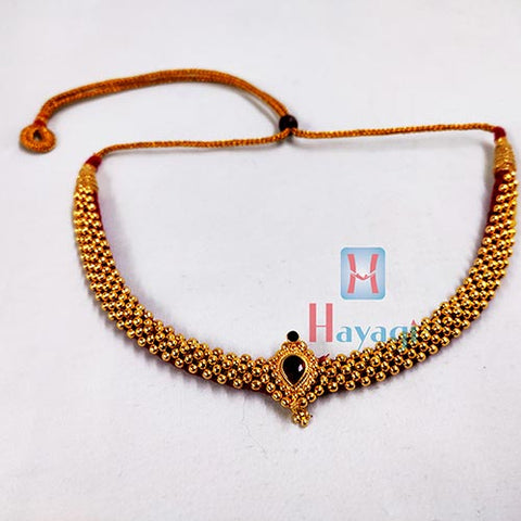 Latest Thushi Golden Beads Decorated On Red Thread _Hayagi(Pune)