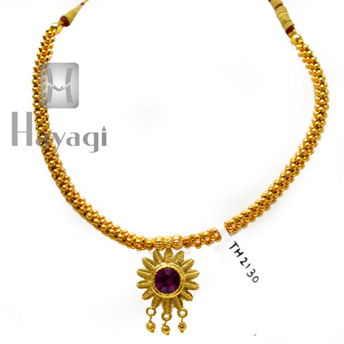 Traditional Golden Thushi Pink Flower Pendant Buy Online - Hayagi