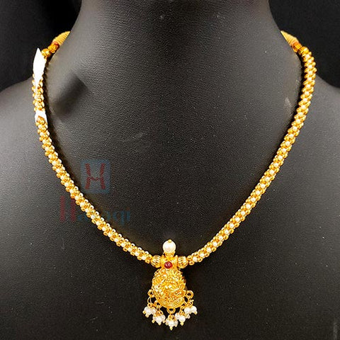 Golden - White Beads Thushi With Pecock Design Pearl Decorated Pendant -Hayagi(Pune)