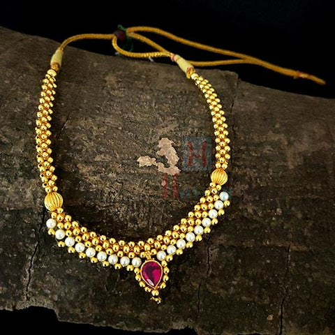 Kolhapuri Thushi Golden N White Beads Decorated-Hayagi(Pune)