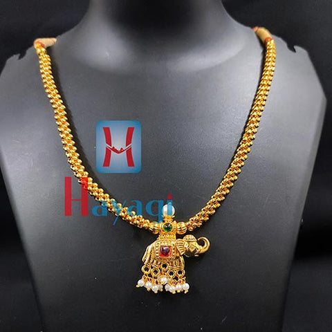 Elephant Pendant Thushi Single Line Gold finishing_Hayagi(Pune)