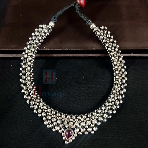 Oxidized Silver Kolhapuri Thushi / Short Necklace _Hayagi(Pune)
