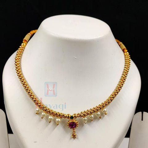 Maharashtrian Bridal Jewellery Pearl Decorated Thushi_Hayagi(Pune)