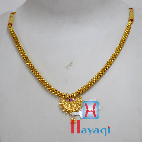 Thushi Single Line Pink Pearl Gold Polishing_Hayagi(Pune)