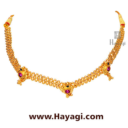 Gadi Thushi Patta Triple  Saj Ghat Necklace Shopping - Hayagi