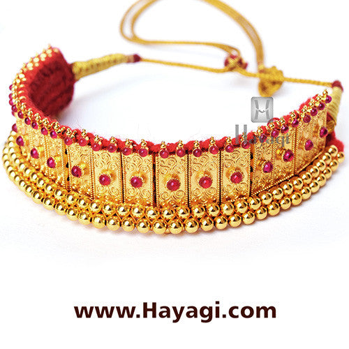 Gadi Thushi Antique Peti Mhalsa Design Necklace Online - Hayagi
