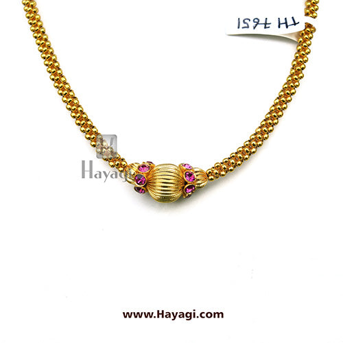 Thushi Plain Pink Stones Studded Gold Finish | Hayagi