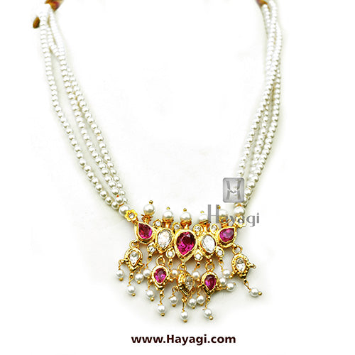 Pearl Necklace Set With Pearl Strings Online-Hayagi