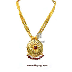 Short Necklace/ Mala Set With Golden Beads 2 Strings Online-Hayagi