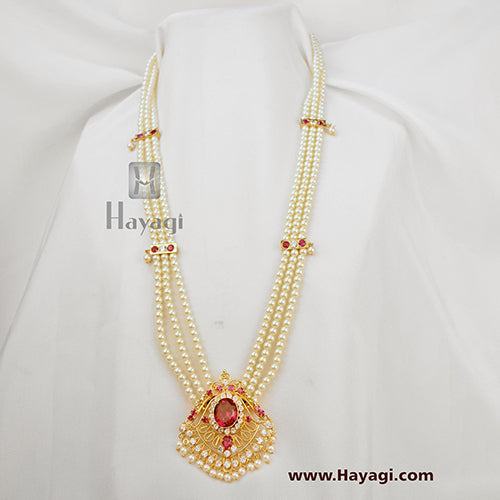 Tanmani/Moti Haar With Traditional Pendent In 3 String Online - Hayagi