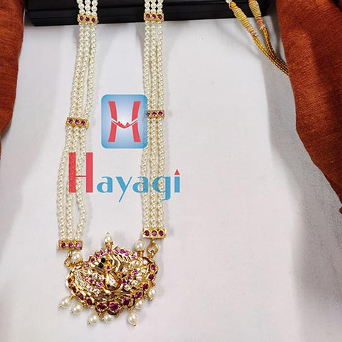 Tanmani Long Haar in 3 string,Precious Peacock Design_Hayagi(Pune)