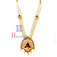 Tanmani Haar in 3 string with Pink & White Stone Pendant Design Online  - Hayagi