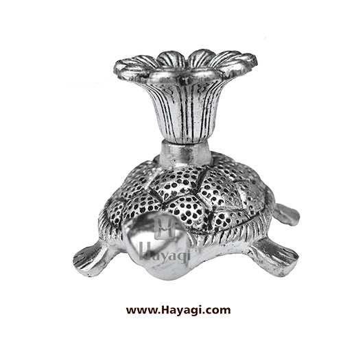 Metal Tortoise Candle Stand in Silver Finish Gifting Item- Hayagi