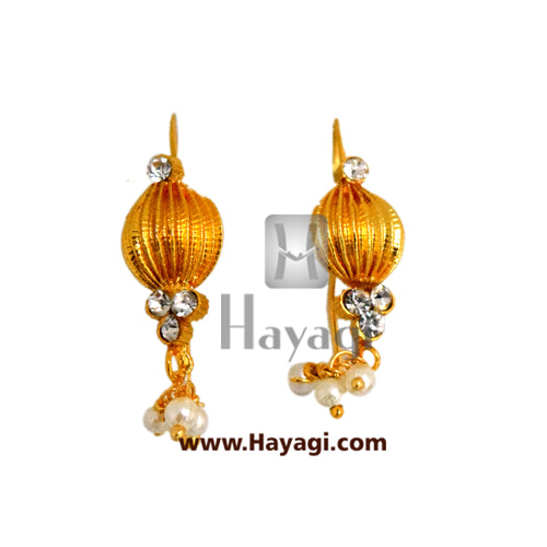 Bugadi, Earring Pearl Stone Studded Tops Earrings - Hayagi