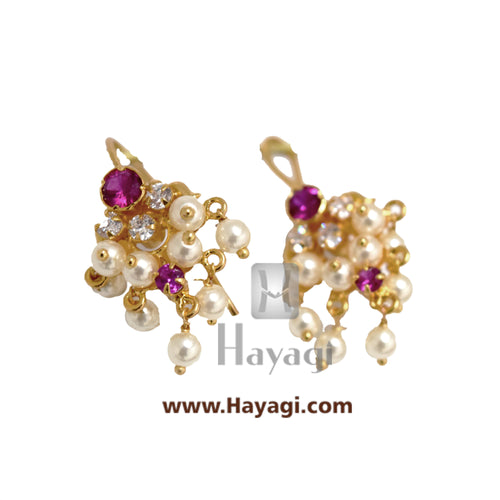 Bugadi, AD Ruby Bugdi Earring Stud Tops Earrings - Hayagi