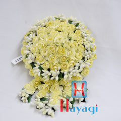 Beautiful Yellow White Rose Flowers Hair Bun Ambada -Hayagi